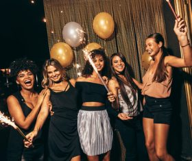 Stylish girls enjoying party at nightclub Stock Photo 04