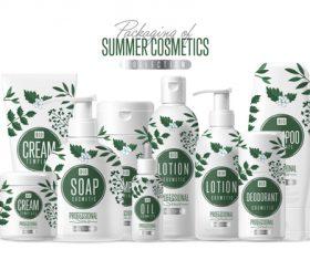 Summer cosmetics packaging design vector 01
