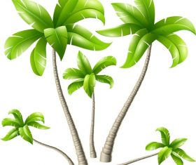 Summer vacation beach coconut tree vector material