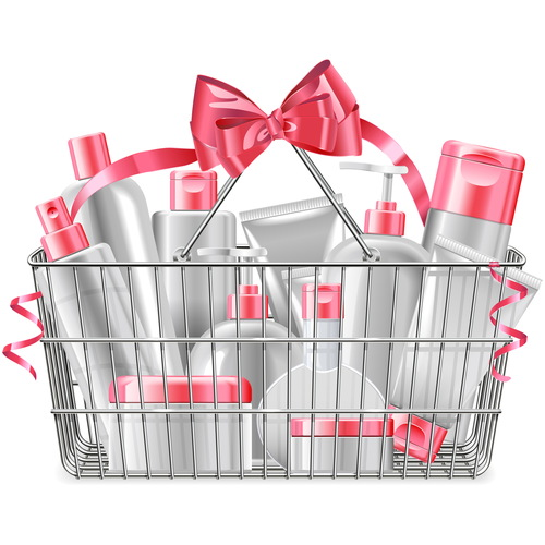 Supermarket Basket with Cosmetics vectors material