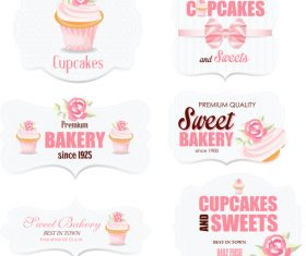 Sweet bakery with cupcake labels vector