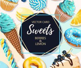 Sweet food card vector