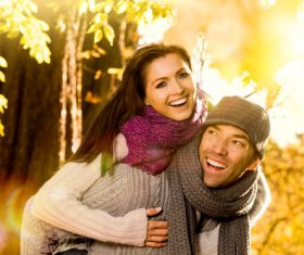 Sweet lovers in the autumn park Stock Photo