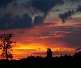 The most beautiful golden sunset scenery Stock Photo