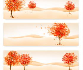 Three autumn banners with colorful leaves and tree vector