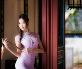 Tight fitting cheongsam classical beauty Stock Photo