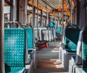 Tram interior Stock Photo