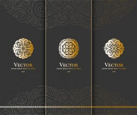 Tri-fold invitation card template luxury vector 01