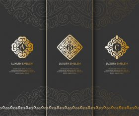 Tri-fold invitation card template luxury vector 03