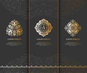Tri-fold invitation card template luxury vector 04