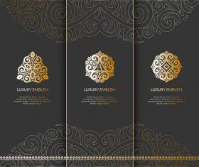 Tri-fold invitation card template luxury vector 05