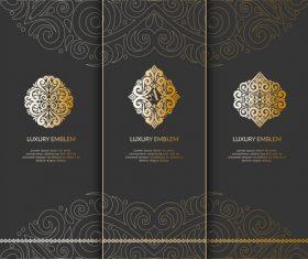 Tri-fold invitation card template luxury vector 06