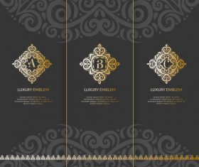 Tri-fold invitation card template luxury vector 07