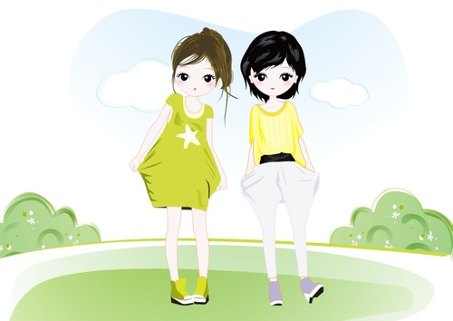 Two cartoon cute girls vector