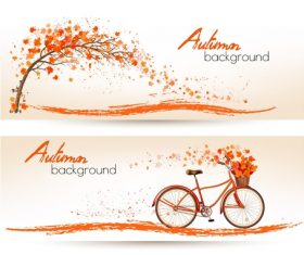 Two nature autumn banners with tree with orange leaves and bike vector
