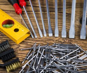 Various building tools on the desktop Stock Photo 03