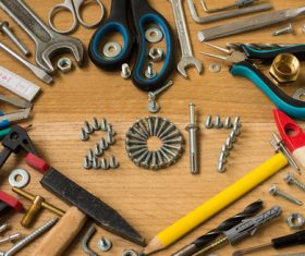 Various building tools on the desktop Stock Photo 04
