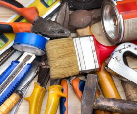 Various building tools on the desktop Stock Photo 05