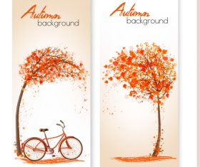 Vector autumn banners with flying leaves and bike vector
