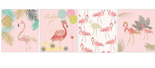 Vector beautiful watercolor flamingo card illustration material