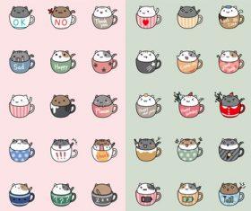 Vector cartoon cup cat pattern