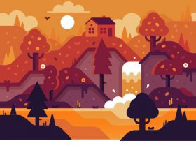 Vector cartoon landscape illustration design pattern