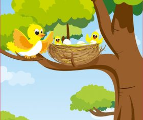 Vector cartoon tree with birds and nest