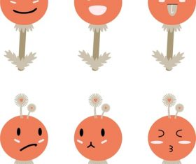 Vector orange dandelion elf expression pack hand drawn material
