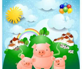Vector ranch and three little pigs cartoon illustration