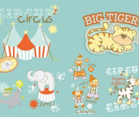 Vector zoo dolphin elephant clown tiger zebra cute animal cartoon