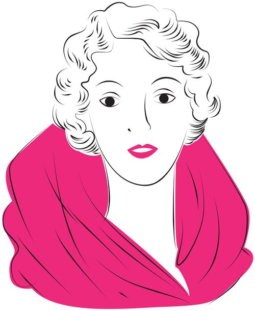 Vintage glam woman illustration vector 02
