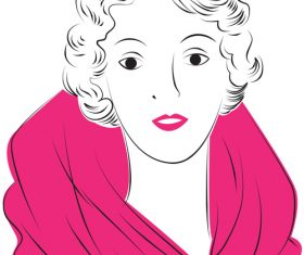 Vintage glam woman illustration vector 01
