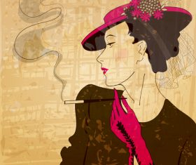Vintage glam woman illustration vector 03