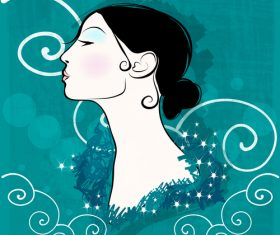 Vintage glam woman illustration vector 04