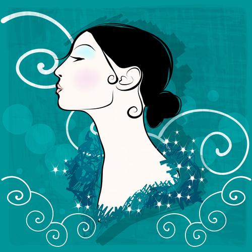 Vintage glam woman illustration vector 04