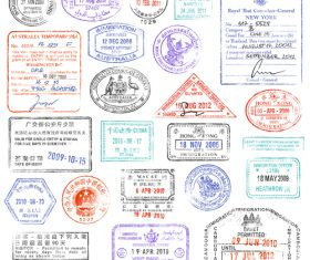 Vintage labels with stamp and badge vector 01