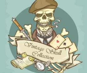 Vintage skull template design vector 03
