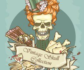 Vintage skull template design vector 05