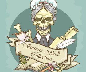 Vintage skull template design vector 07