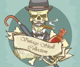 Vintage skull template design vector 12