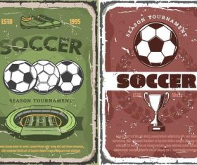 Vintage soccer brochure cover template vector