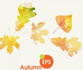 Watercolor autumn leaves vectors set 01