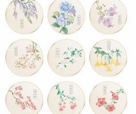 Watercolor floral fan pattern vector