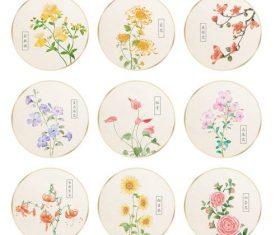 Watercolor flower plant circular fan vector