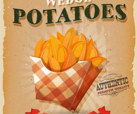 Wedge potatoes poster template retro vector