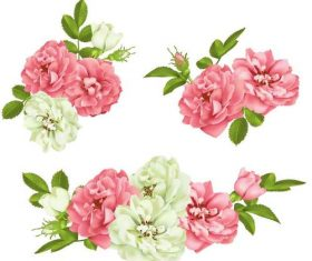 White with pink flower design vector