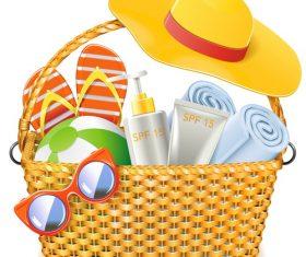 Wicker Basket with Beach Accessories vectors