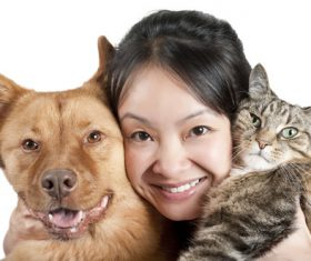 Woman and favorite pet Stock Photo