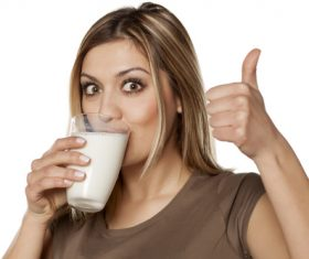 Woman drinking milk Stock Photo 05