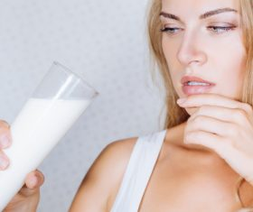 Woman drinking milk Stock Photo 06